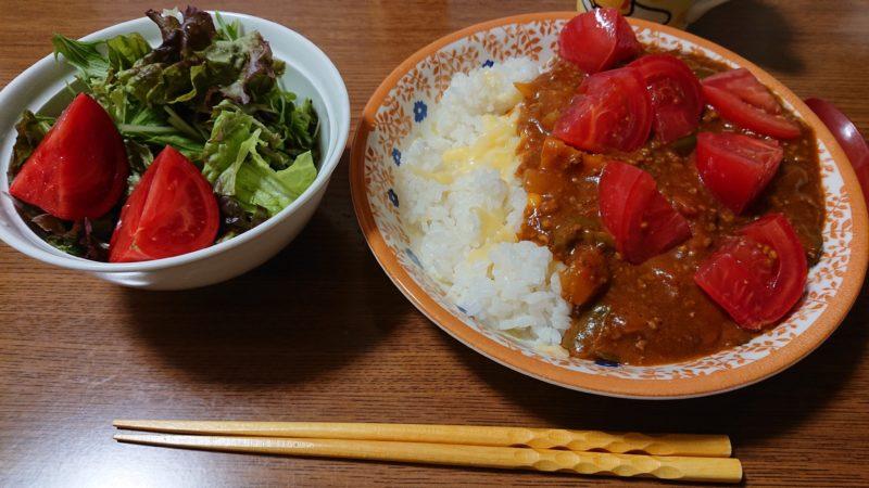 夏野菜カレー トマトバラバラ置きw