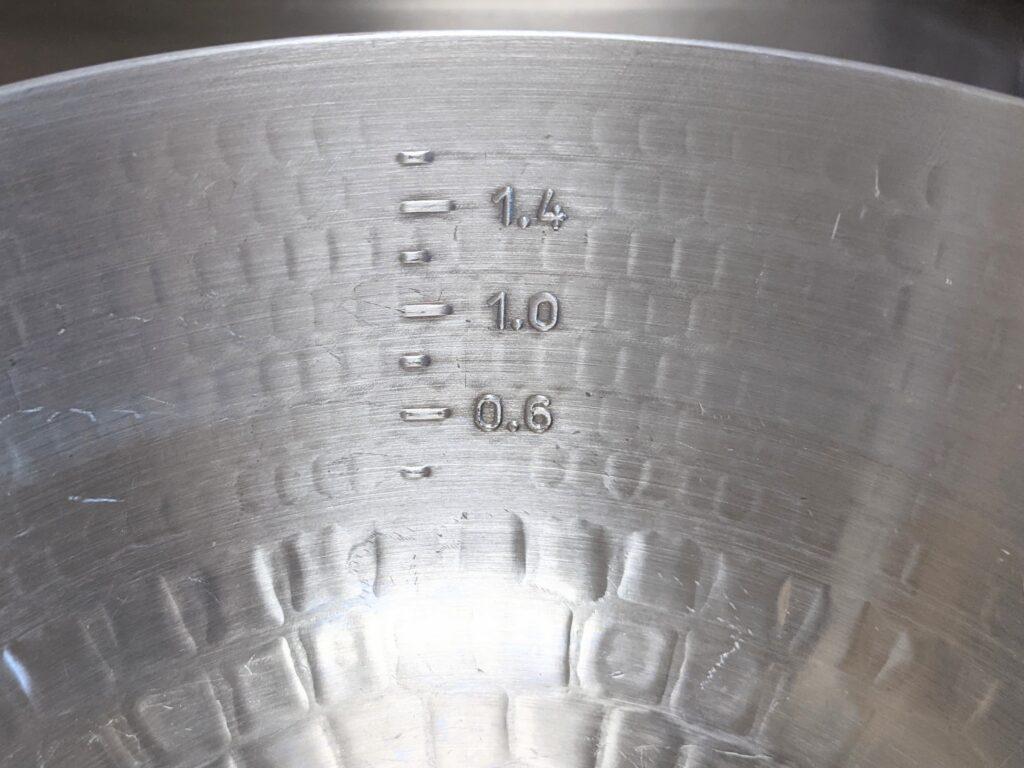 アルミ打出雪平鍋 目盛り 中尾アルミ製作所
